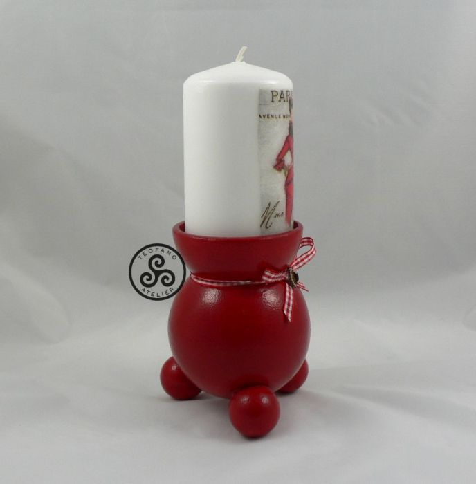 Świecznik czerwony plus świeca - teofano atelier, świeca