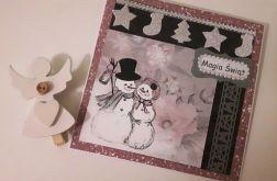 Kartka świąteczna Boże Narodzenie bałwanki