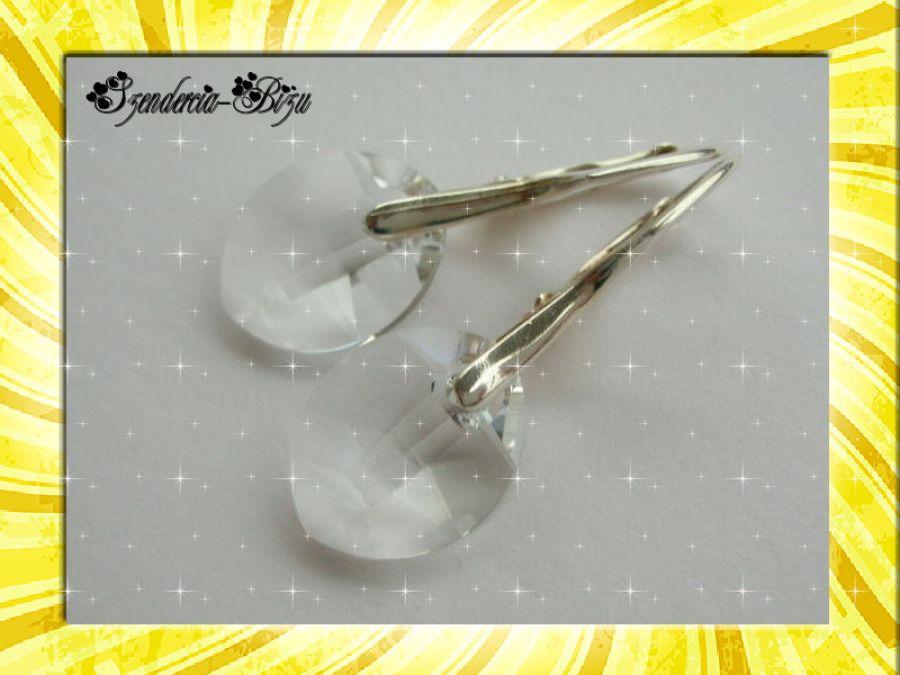 Kolczyki Swarovski Elements Pure Leaf 14mm Crystal