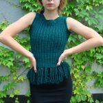 bluzka z frędzlami - butelkowa zieleń