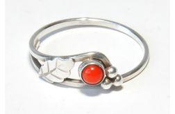 41 pierścionek vintage, pierścionek z koralem