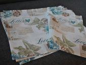 4 podkładki pod talerze - listy i pastelowe kwiaty