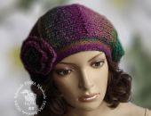 beret/ czapka odcienie fioletu i zieleni