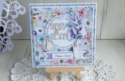 Kartka ślubna z kopertą błękit, fiolet GOTOWA