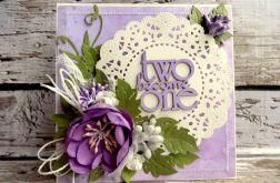 Kartka ślubna na fioletowo