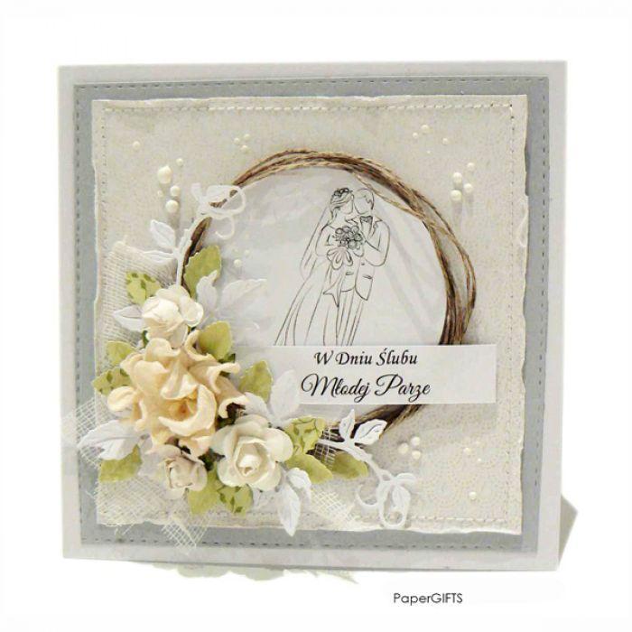 Kartka ślubna szara ręcznie robiona - KARTKA ŚLUBNA