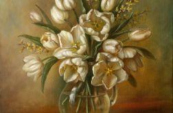 Białe Tulipany, ręcznie malowany obraz olejny