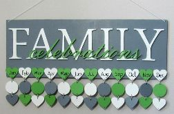 Kalendarz rodzinny, kalendarz urodzin, drewniany kalendarz, dowolne kolory i napisy 04