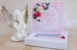 Pamiątka komunijna w pudełku różowa #2