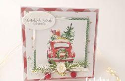Czerwony samochodzik- kartka świąteczna 4