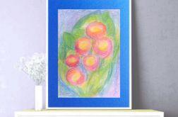 Rysunek kwiaty granatowym tle nr 8 szkic past