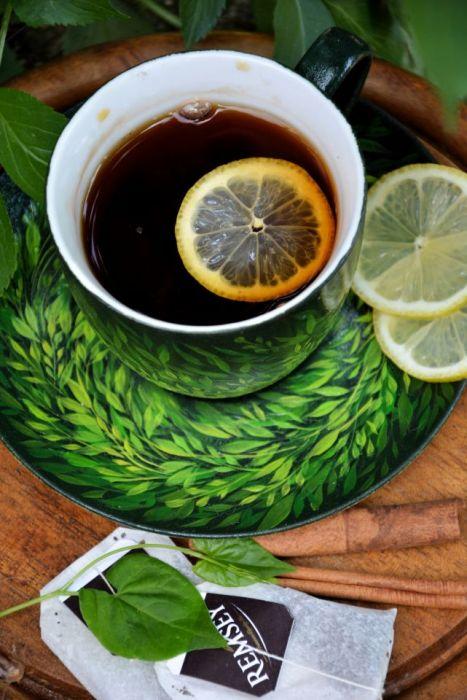 filiżanka z podstawką- zielono mi, natura -