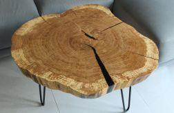 Stolik plaster drewna dąb czarna żywica