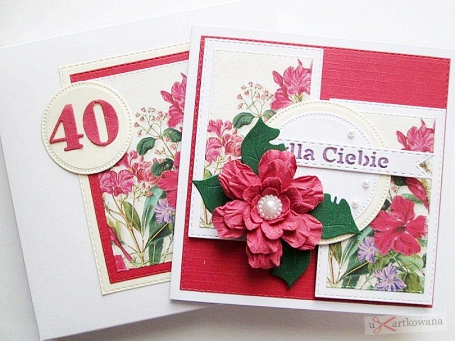 Kartka URODZINOWA - z czerwonym kwiatem