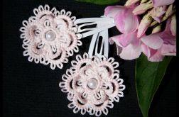 Spinki koronkowe dla dziewczynki - różowe