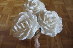 Róża biała ze srebrnym brokatem