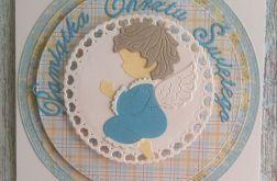 Kartka na chrzest z niebieskim aniołkiem