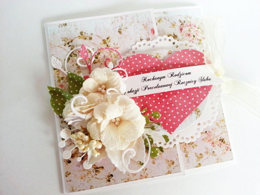 Pastelowa kartka ślubna w komplecie z torebką. WZÓR.
