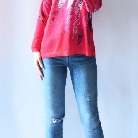 Sweter z kapturem oversize boho 02