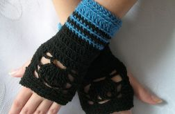 Rękawiczki-ażurowe -czarno-niebieskie