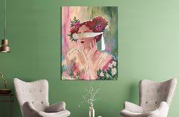 Obraz ręcznie malowany 70x90 kobieta kwiaty