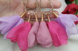 Fioletowe pastelowe duże kolczyki kwiaty boho