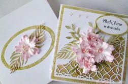 Kartka MŁODEJ PARZE z różowymi kwiatami #1