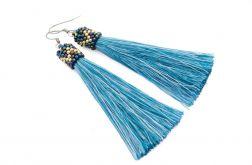 Kolczyki chwosty niebieskie