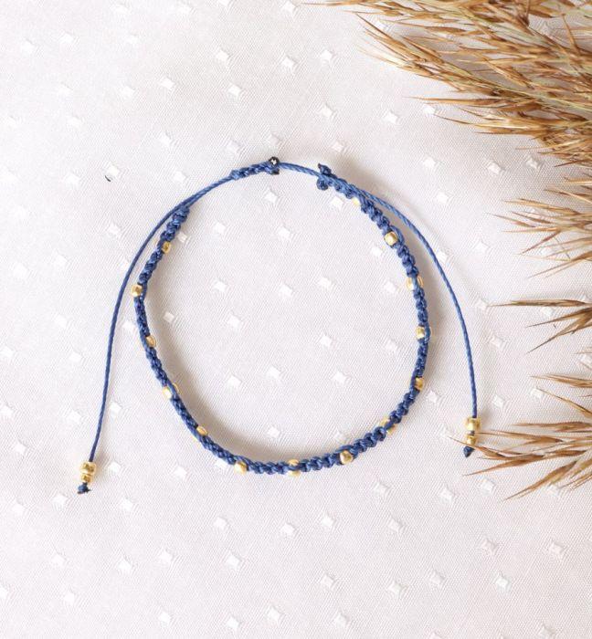 Relva pleciona bransoletka niebieska - Bransoletka na rękę pleciona z koralikami