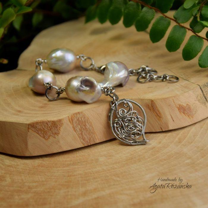 Bransoletka z perłami barokowymi stal  - Wykonana techniką wire wrapping ze stali chirurgicznej