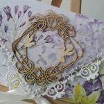 Kartka ślubna kopertowa - fioletowe bzy