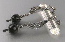 Długie srebrne kolczyki z czarnym onyksem
