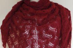 Duża ażurowa bordowa chusta