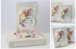 Kartka z pudełkiem zestaw ślubny B1