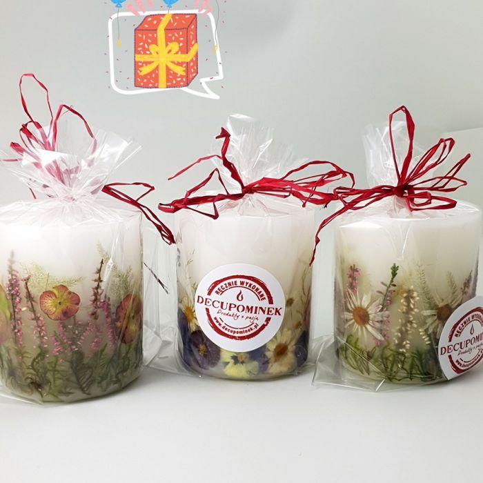Świeca z naturalnymi kwiatami-rumian i wrzos - opakowanie