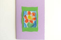 Kartka fioletowa z kwiatkiem 15