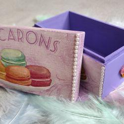 Drewniane pudełko ozdobne Macarons