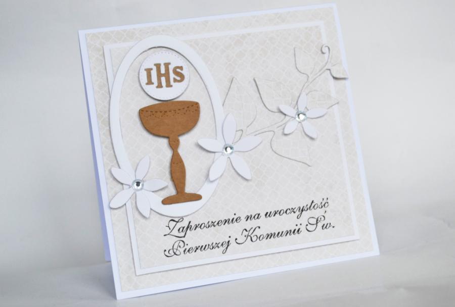 Zaproszenia na Komunię- Kielich i kwiaty