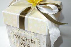 Pudełko, kartka ślubna kremowa ze słonecznikiem