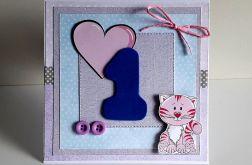 Kartka na Roczek dla dziewczynki kotek jedynk