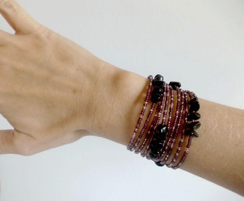 Fioletowy zawijaniec - bransoletka koralikowa