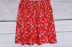 Spódnica japońskie żurawie na czerwonym tle