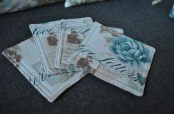 4 podkładki pod kubki - listy i pastelowe kwiaty