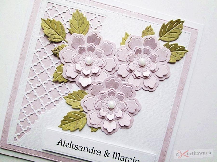 Kartka ŚLUBNA jasnoróżowo-biała /Z - Biało-różowa kartka na ślub z kwiatami