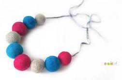 Korale z filcu niebiesko różowo siwe
