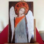 Obraz - Zamyślony anioł na desce A - widok