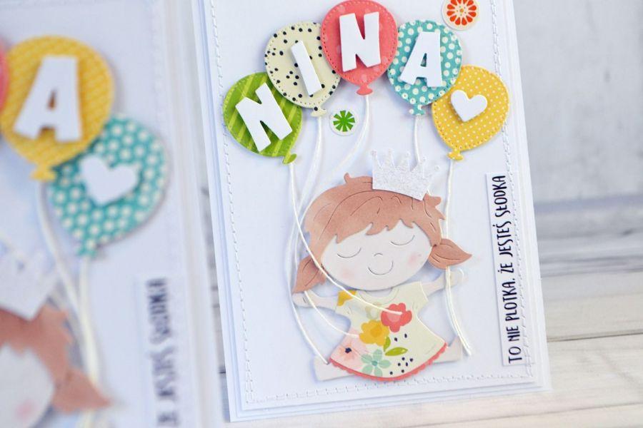 Słodka i kolorowa kartka dla dziewczynki -