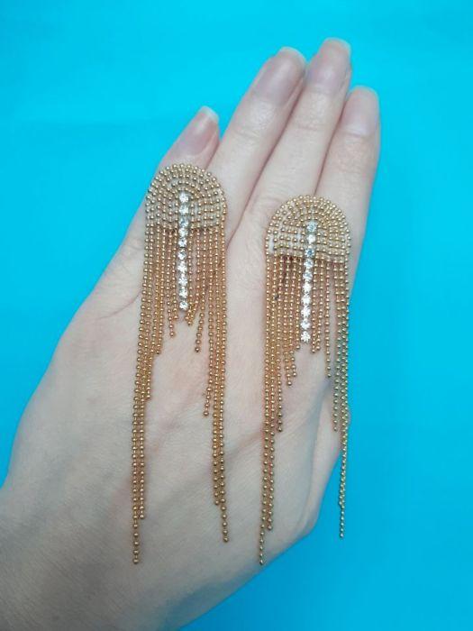 Kolczyki złote, długie, na urodziny, wesele, komunię  -