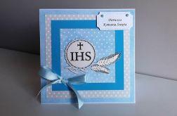 Kartka Komunia Święta niebieska IHS