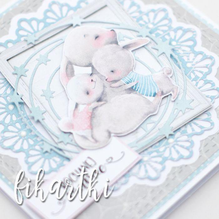Kartka na Dzień Matki z króliczą rodziną